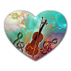 Violin With Violin Bow And Key Notes Heart Mousepads
