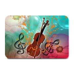 Violin With Violin Bow And Key Notes Plate Mats