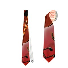 Violin With Violin Bow And Key Notes Neckties (Two Side)