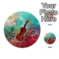 Violin With Violin Bow And Key Notes Multi-purpose Cards (Round)