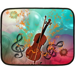 Violin With Violin Bow And Key Notes Fleece Blanket (mini)