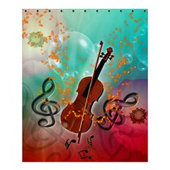 Violin With Violin Bow And Key Notes Shower Curtain 60  X 72  (medium)