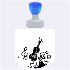 Violin With Violin Bow And Key Notes Rubber Round Stamps (Large)