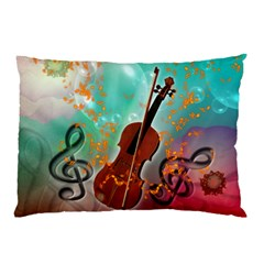 Violin With Violin Bow And Key Notes Pillow Cases (two Sides)