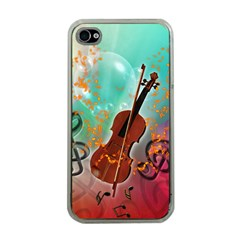 Violin With Violin Bow And Key Notes Apple iPhone 4 Case (Clear)