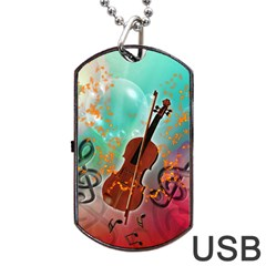 Violin With Violin Bow And Key Notes Dog Tag USB Flash (Two Sides)