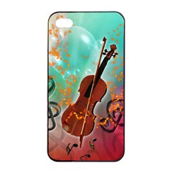 Violin With Violin Bow And Key Notes Apple Iphone 4/4s Seamless Case (black)