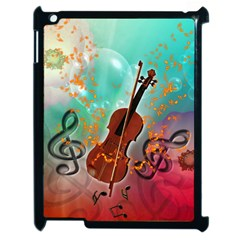 Violin With Violin Bow And Key Notes Apple iPad 2 Case (Black)