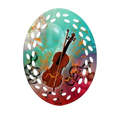 Violin With Violin Bow And Key Notes Oval Filigree Ornament (2 Side)