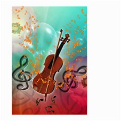 Violin With Violin Bow And Key Notes Small Garden Flag (Two Sides)