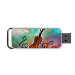 Violin With Violin Bow And Key Notes Portable USB Flash (One Side)