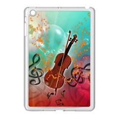 Violin With Violin Bow And Key Notes Apple iPad Mini Case (White)