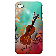 Violin With Violin Bow And Key Notes Apple iPhone 4/4S Hardshell Case (PC+Silicone)