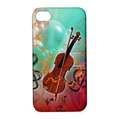 Violin With Violin Bow And Key Notes Apple Iphone 4/4s Hardshell Case With Stand