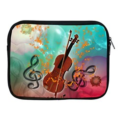 Violin With Violin Bow And Key Notes Apple iPad 2/3/4 Zipper Cases