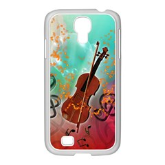 Violin With Violin Bow And Key Notes Samsung GALAXY S4 I9500/ I9505 Case (White)