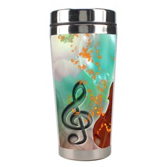 Violin With Violin Bow And Key Notes Stainless Steel Travel Tumblers