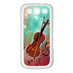 Violin With Violin Bow And Key Notes Samsung Galaxy S3 Back Case (White)