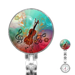 Violin With Violin Bow And Key Notes Stainless Steel Nurses Watches