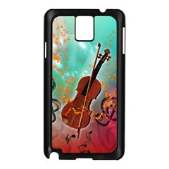 Violin With Violin Bow And Key Notes Samsung Galaxy Note 3 N9005 Case (Black)