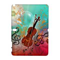 Violin With Violin Bow And Key Notes Samsung Galaxy Note 10.1 (P600) Hardshell Case
