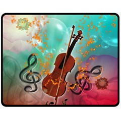 Violin With Violin Bow And Key Notes Double Sided Fleece Blanket (Medium)