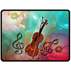 Violin With Violin Bow And Key Notes Double Sided Fleece Blanket (Large)