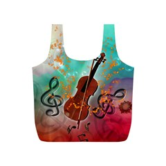 Violin With Violin Bow And Key Notes Full Print Recycle Bags (S)