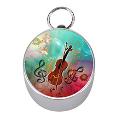 Violin With Violin Bow And Key Notes Mini Silver Compasses