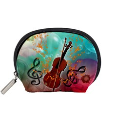 Violin With Violin Bow And Key Notes Accessory Pouches (Small)