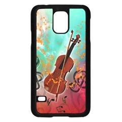 Violin With Violin Bow And Key Notes Samsung Galaxy S5 Case (black)