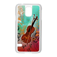 Violin With Violin Bow And Key Notes Samsung Galaxy S5 Case (White)