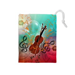 Violin With Violin Bow And Key Notes Drawstring Pouches (Medium)