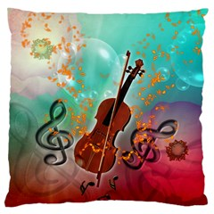 Violin With Violin Bow And Key Notes Large Flano Cushion Cases (Two Sides)