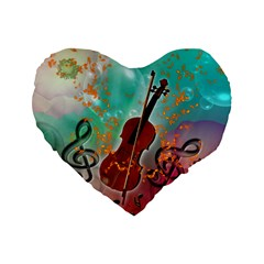Violin With Violin Bow And Key Notes Standard 16  Premium Flano Heart Shape Cushions