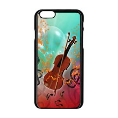 Violin With Violin Bow And Key Notes Apple iPhone 6/6S Black Enamel Case