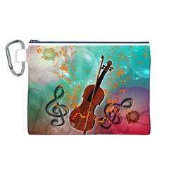 Violin With Violin Bow And Key Notes Canvas Cosmetic Bag (L)