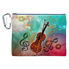 Violin With Violin Bow And Key Notes Canvas Cosmetic Bag (XXL)