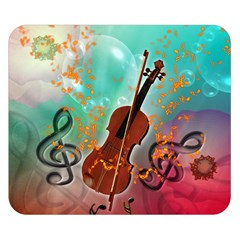 Violin With Violin Bow And Key Notes Double Sided Flano Blanket (small)