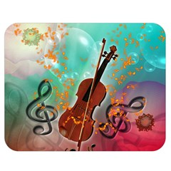 Violin With Violin Bow And Key Notes Double Sided Flano Blanket (Medium)