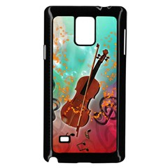 Violin With Violin Bow And Key Notes Samsung Galaxy Note 4 Case (Black)
