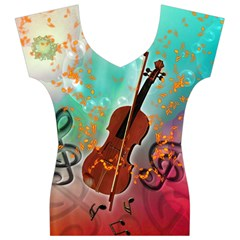 Violin With Violin Bow And Key Notes Women s V-Neck Cap Sleeve Top