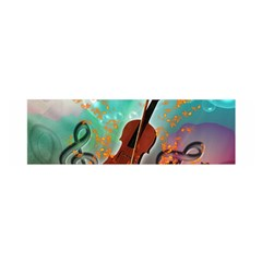 Violin With Violin Bow And Key Notes Satin Scarf (oblong)