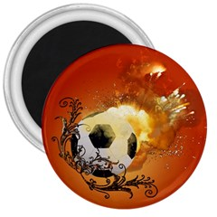 Soccer With Fire And Flame And Floral Elelements 3  Magnets