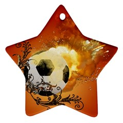 Soccer With Fire And Flame And Floral Elelements Ornament (Star)