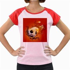 Soccer With Fire And Flame And Floral Elelements Women s Cap Sleeve T Shirt