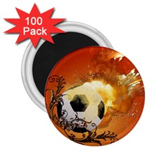 Soccer With Fire And Flame And Floral Elelements 2.25  Magnets (100 pack)