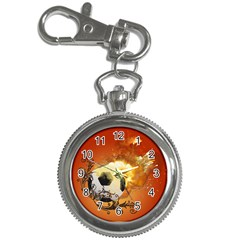 Soccer With Fire And Flame And Floral Elelements Key Chain Watches