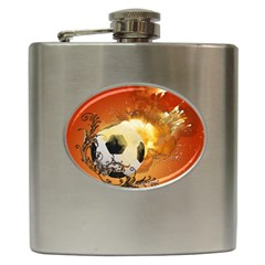 Soccer With Fire And Flame And Floral Elelements Hip Flask (6 oz)