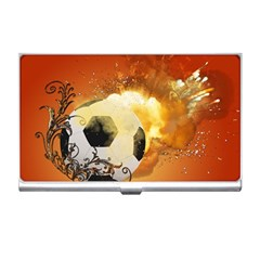 Soccer With Fire And Flame And Floral Elelements Business Card Holders